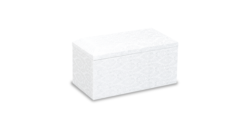 純粋無垢の可愛らしい白い布貼りの綺麗なお棺